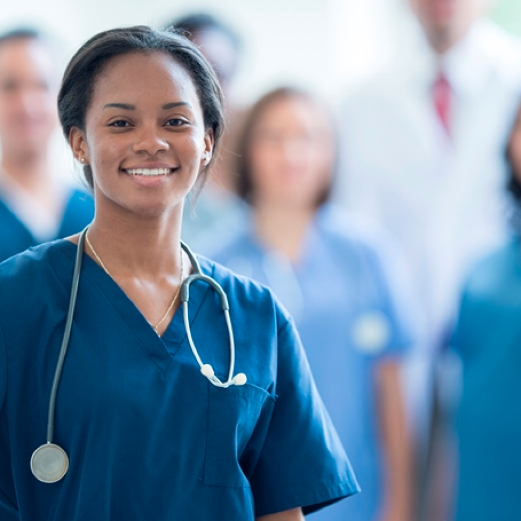 nurse at hospital with blurred background